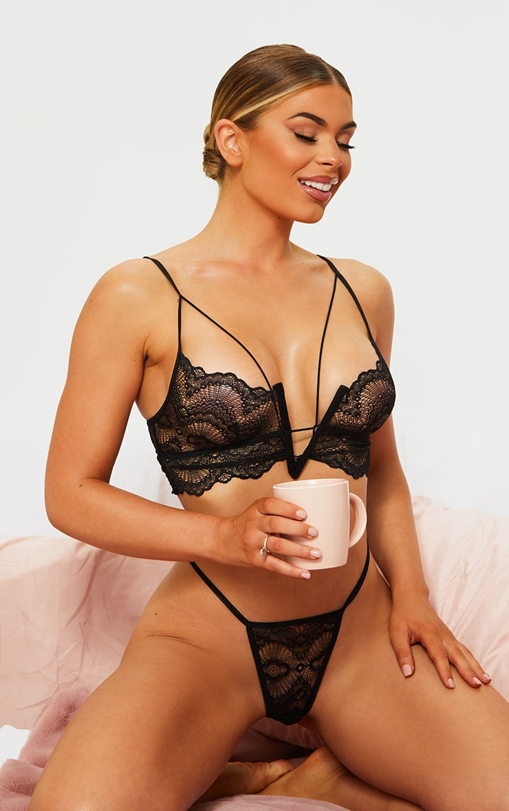 Black Strappy Plunge Delicate Lace Bra And Panties Set 1
