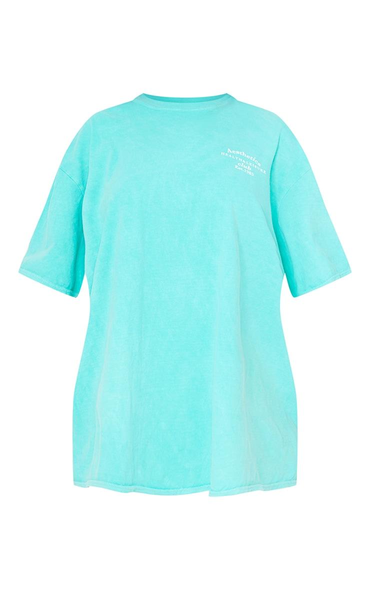 Aqua Blue Health Club Print Washed T Shirt 5