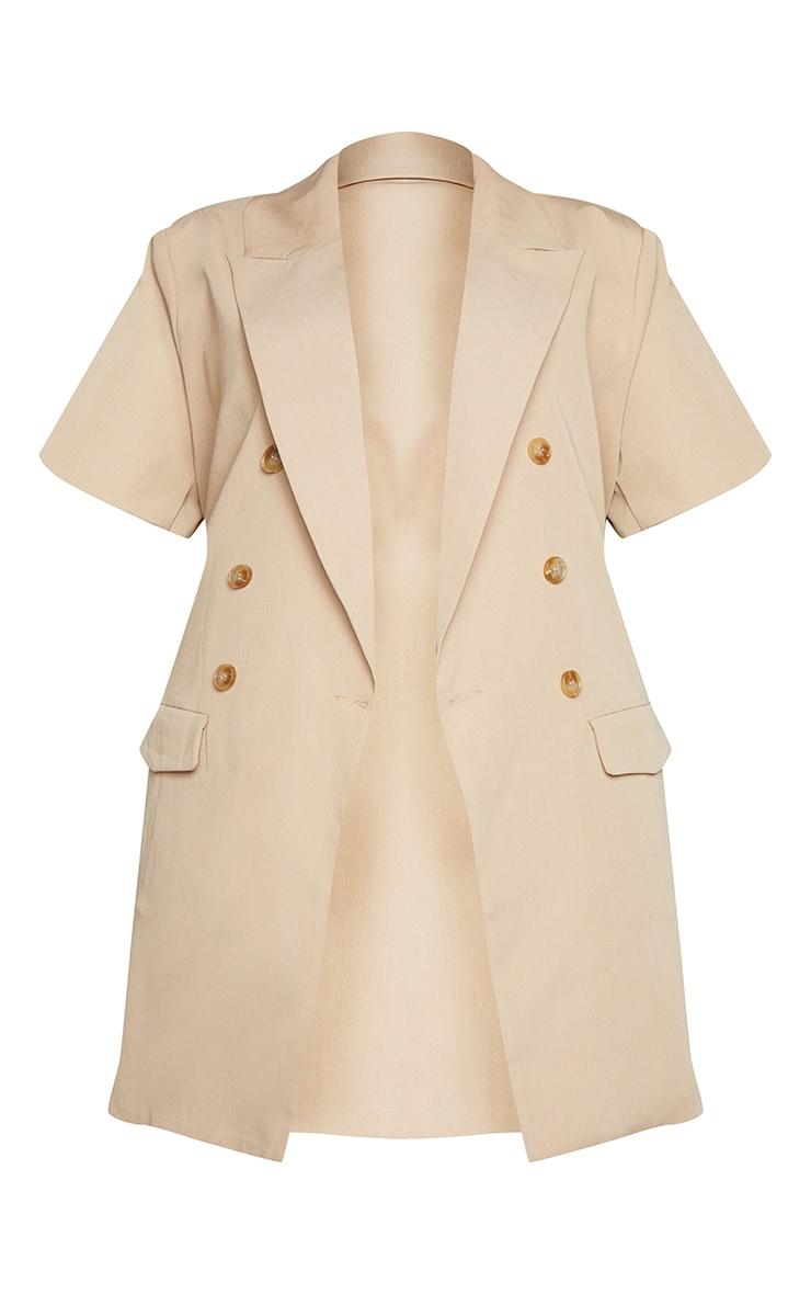 Plus Cream Woven Short Sleeve Longline Belted Blazer 5