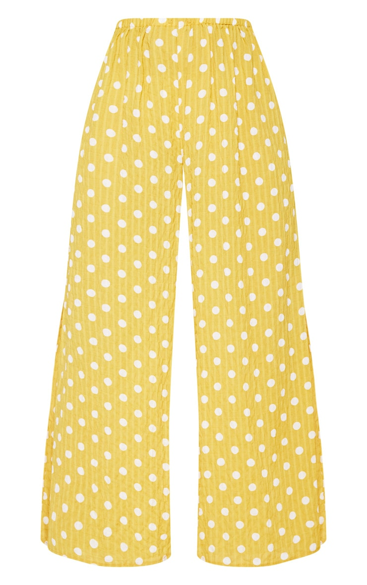 Mustard Cheesecloth Polka Dot Wide Leg Trousers  4