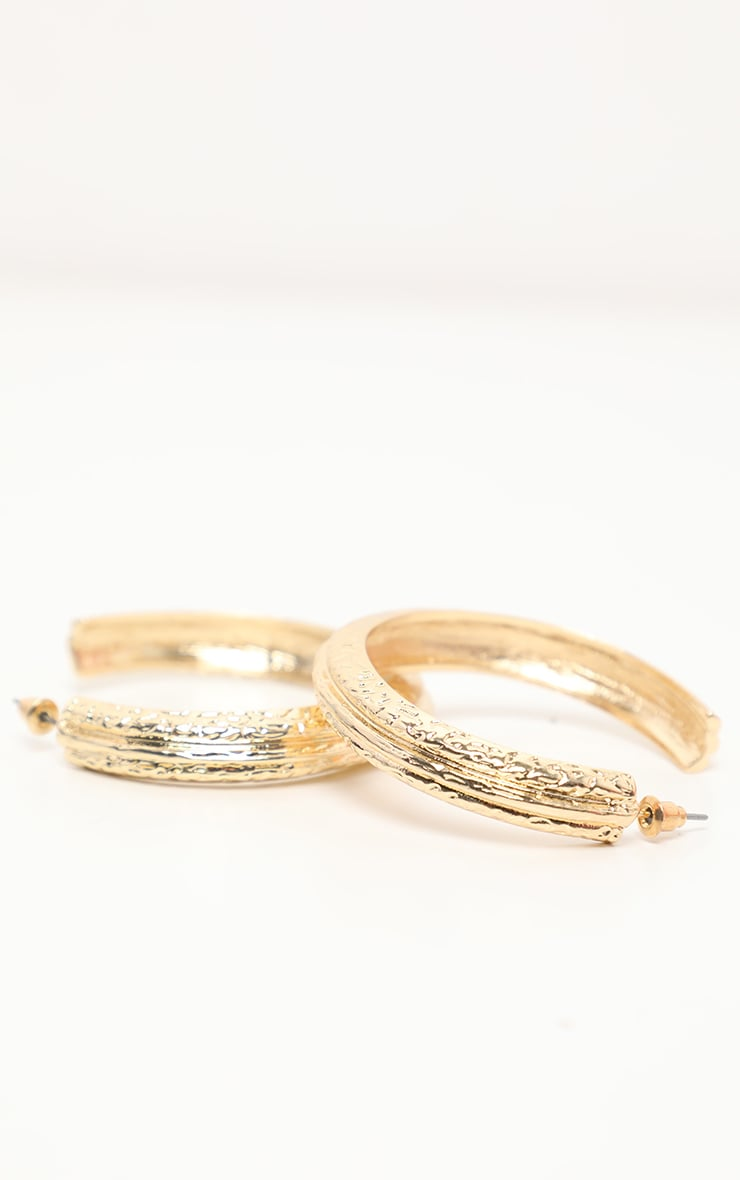 Gold Textured Tubular Hoop Earrings 2