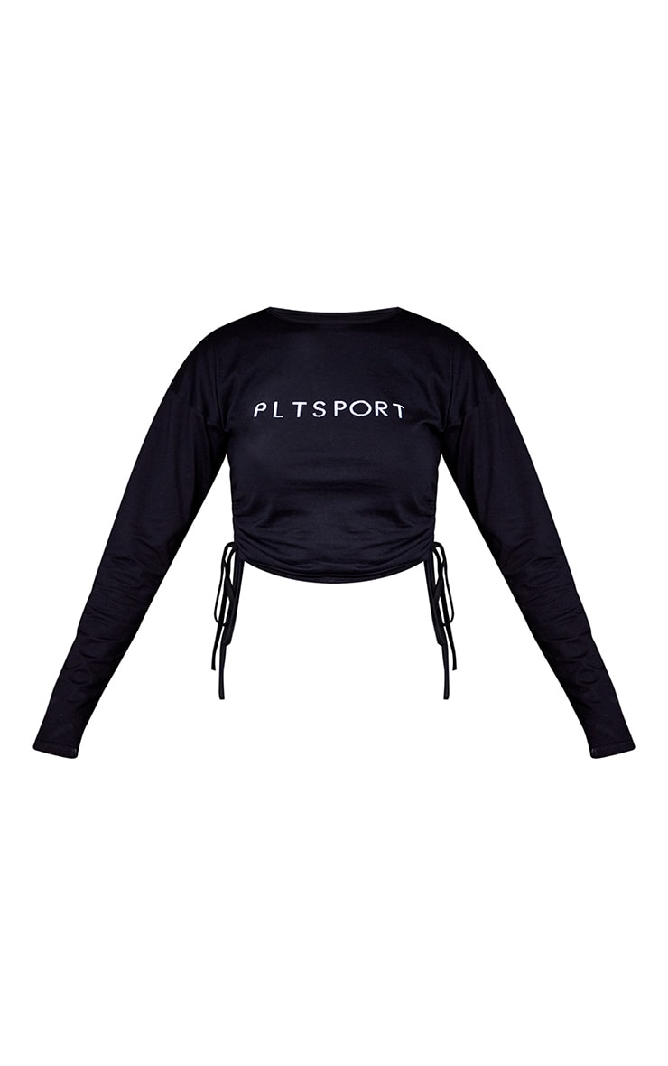 Black Draw Cord Long Sleeve Cropped Gym Top 5
