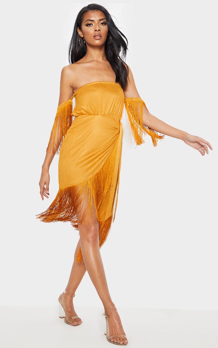 07f1a8af8a1 Tan Faux Suede Bardot Tassel Wrap Bodycon Dress image 1