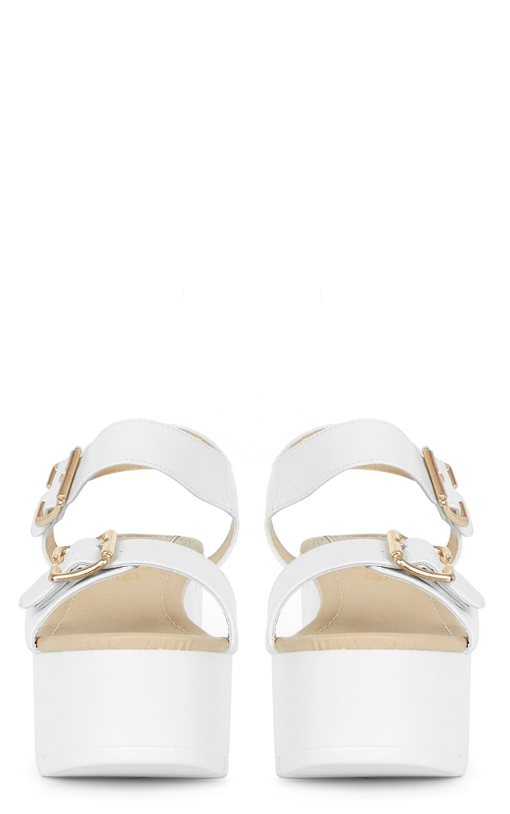 Darcy Cleated White Strap Flatform with Buckle 2