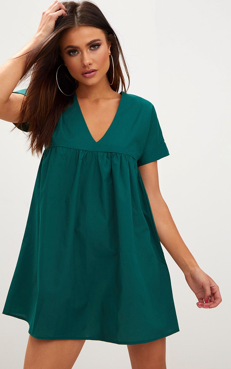 Forest Green Poplin Smock Dress 1