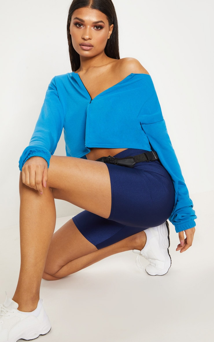 Blue Zip Front Sweater 1
