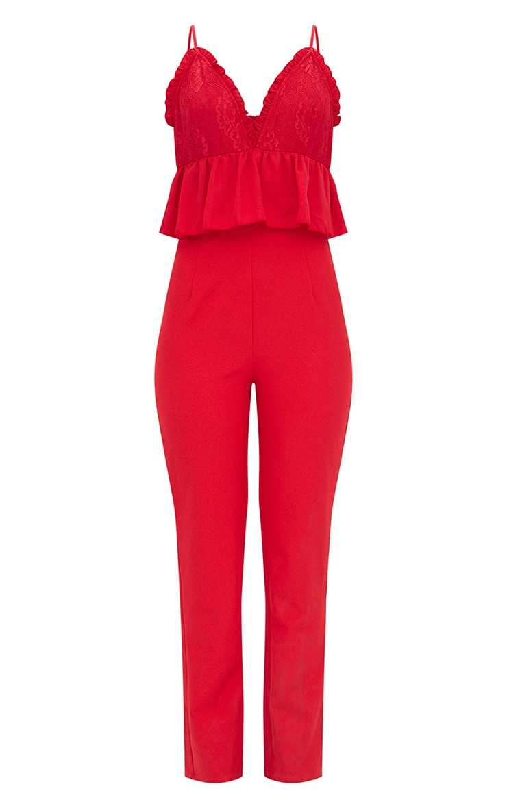 Red Lace Plunge Peplum Jumpsuit  3