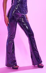 Black Flared Vinyl Trousers 2