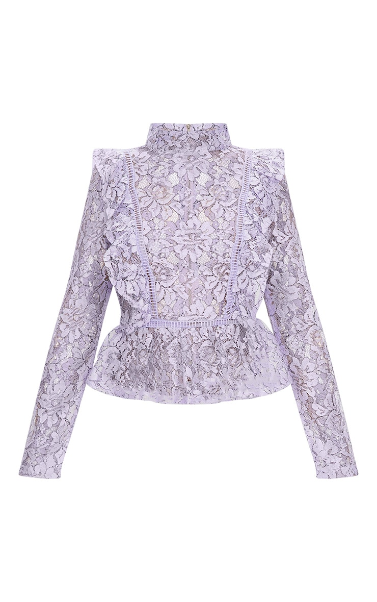 Lilac Frill Front Lace Blouse 3