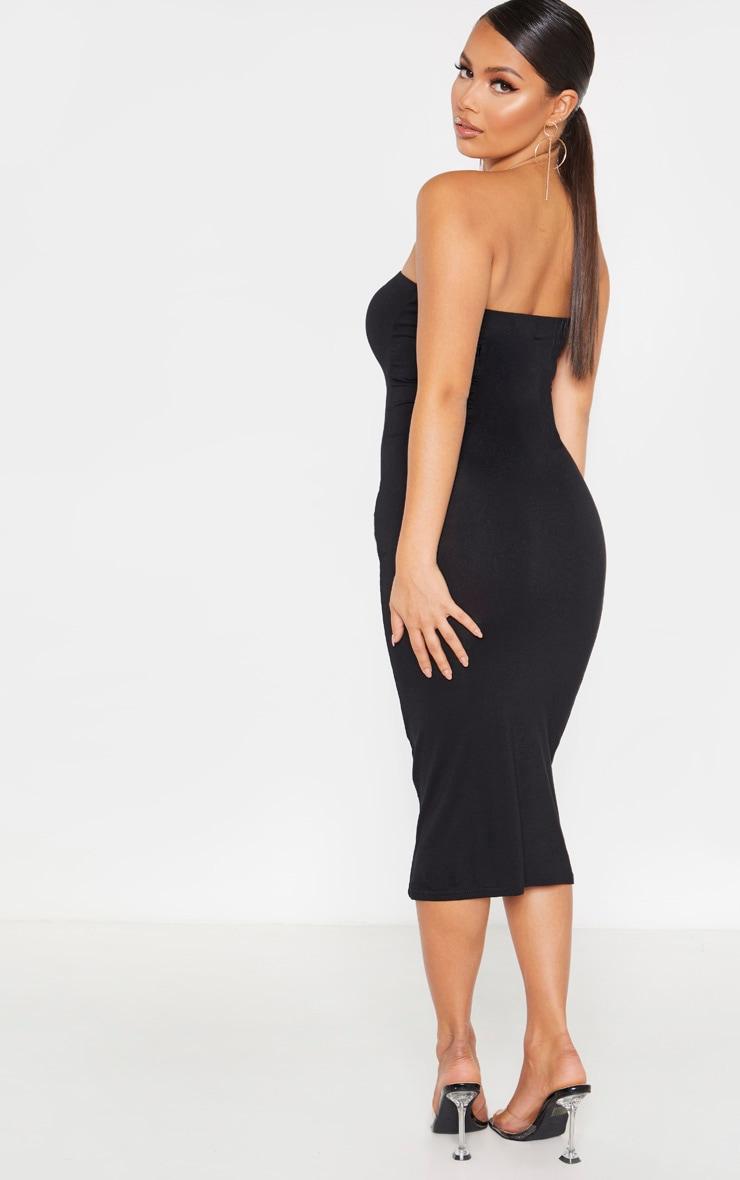 Petite Black Bandeau Jersey Midi Dress 2