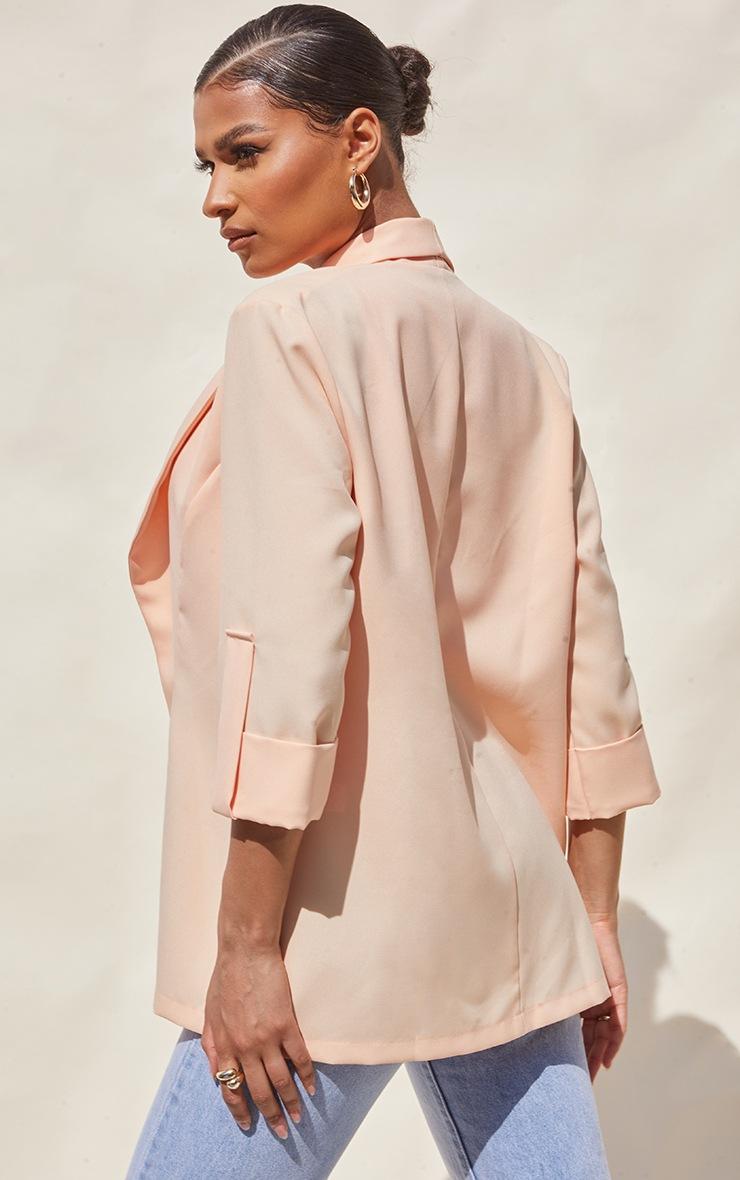 Peach Woven Turn Up Sleeve Blazer 2