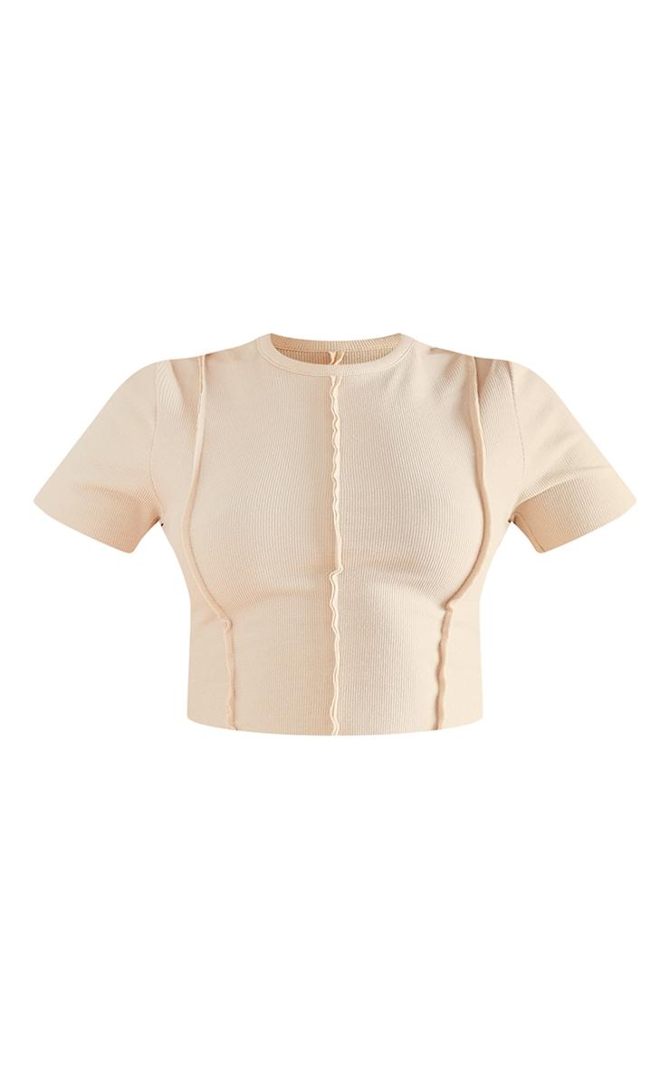 RECYCLED Beige Rib Raw Seam Crop T Shirt 5