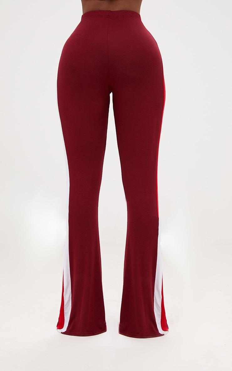 Shape Burgundy/Red Stripe Side Flared Trousers 4