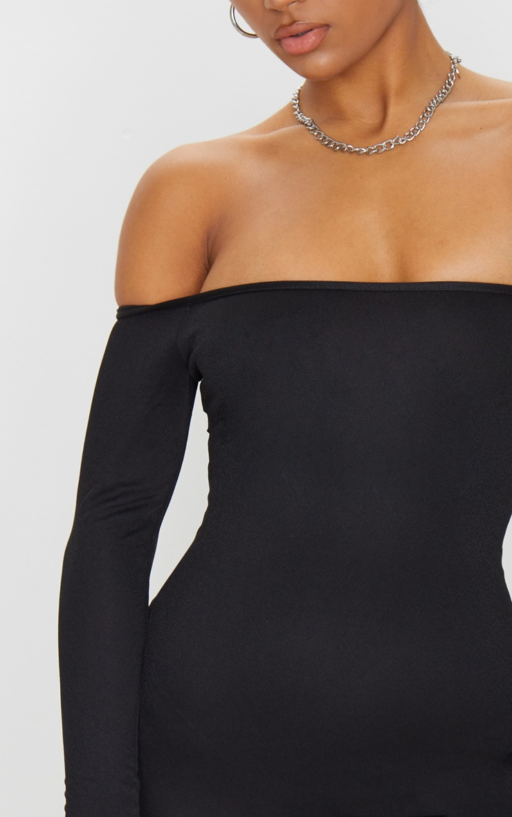 Black Choker Detail Bardot Bodycon Dress 4
