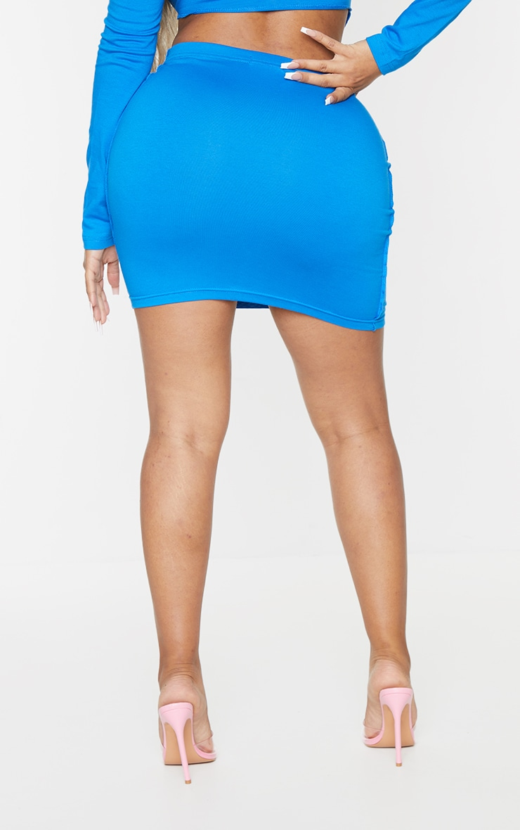 Recycled Shape Bright Blue Cotton Overlock Detail Bodycon Skirt 3