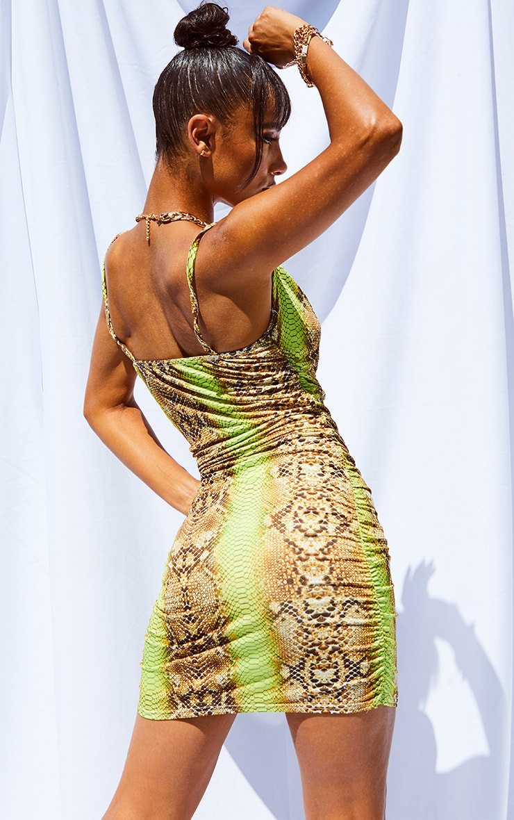 Tan Snake Print Strappy Ruched Bodycon Dress 2