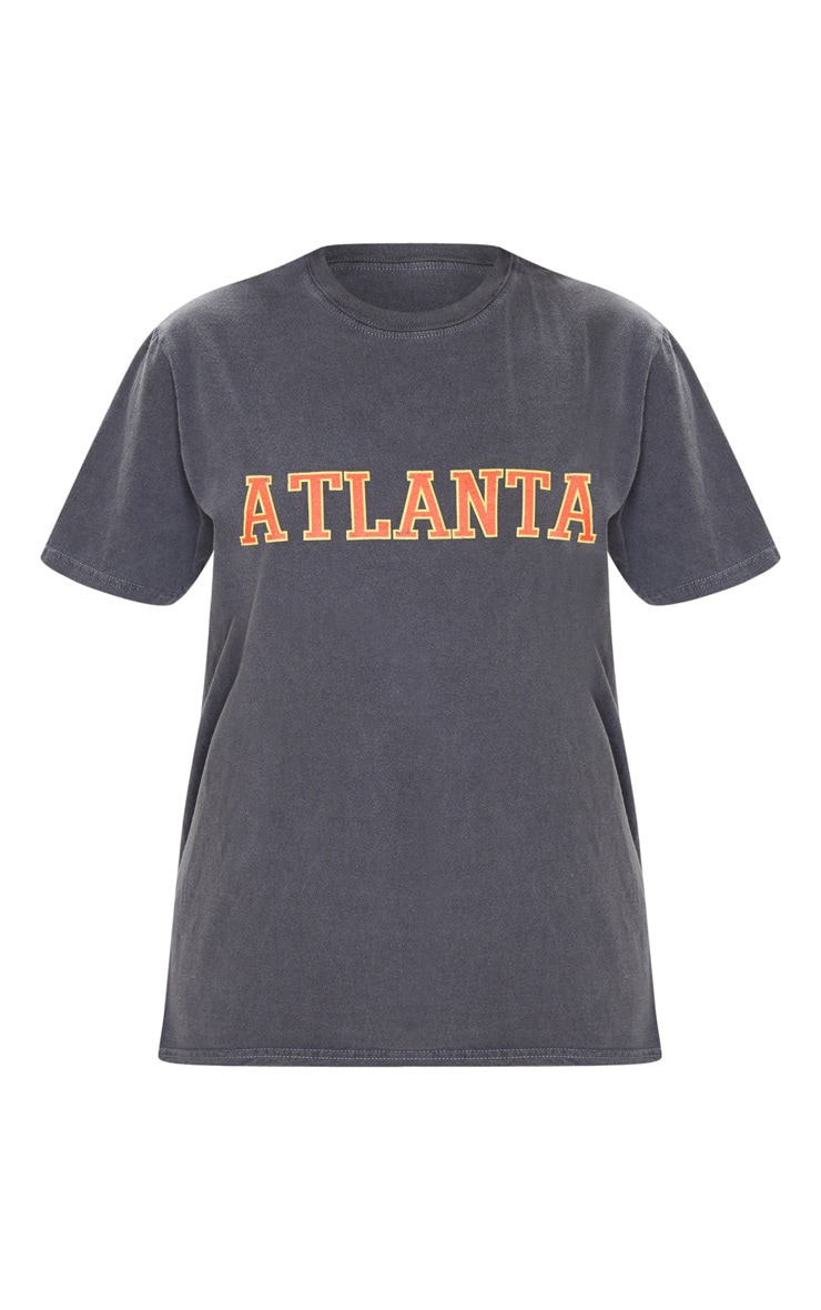 Grey Atlanta Slogan Washed T Shirt 3