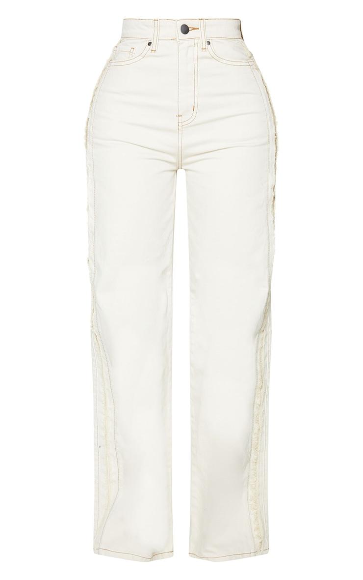 Shape Ecru Fray Side Detail Wide Leg Jeans 5