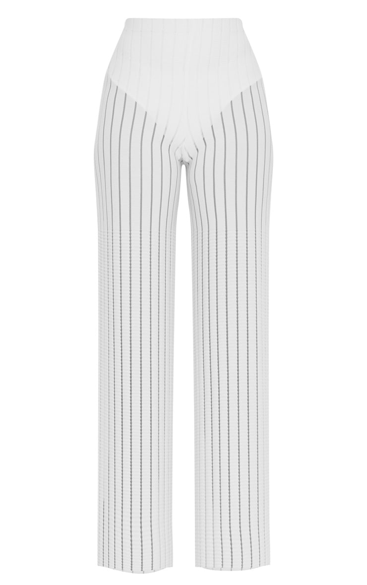 Petite White Burn Out Mesh Wide Leg Pants 3