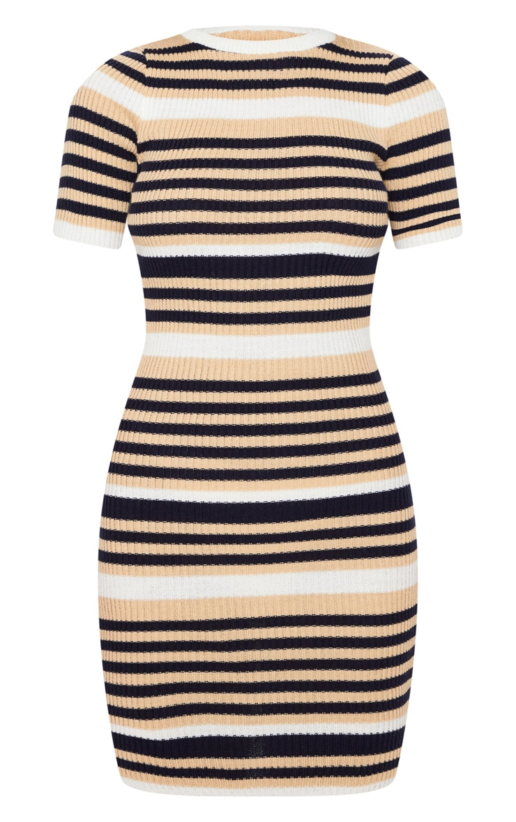Cream  Striped Knitted Short Sleeve Dress 3