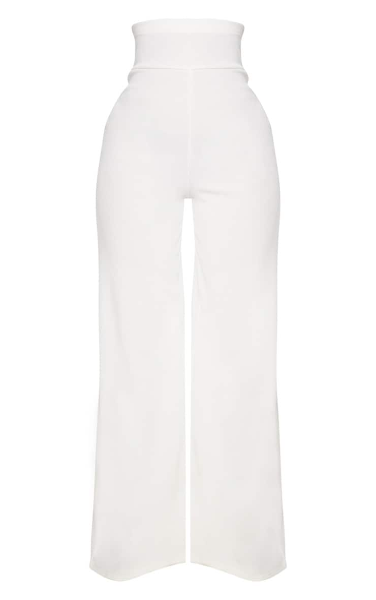 Shape White Bandage Extreme High Waist Wide Leg Trousers 3