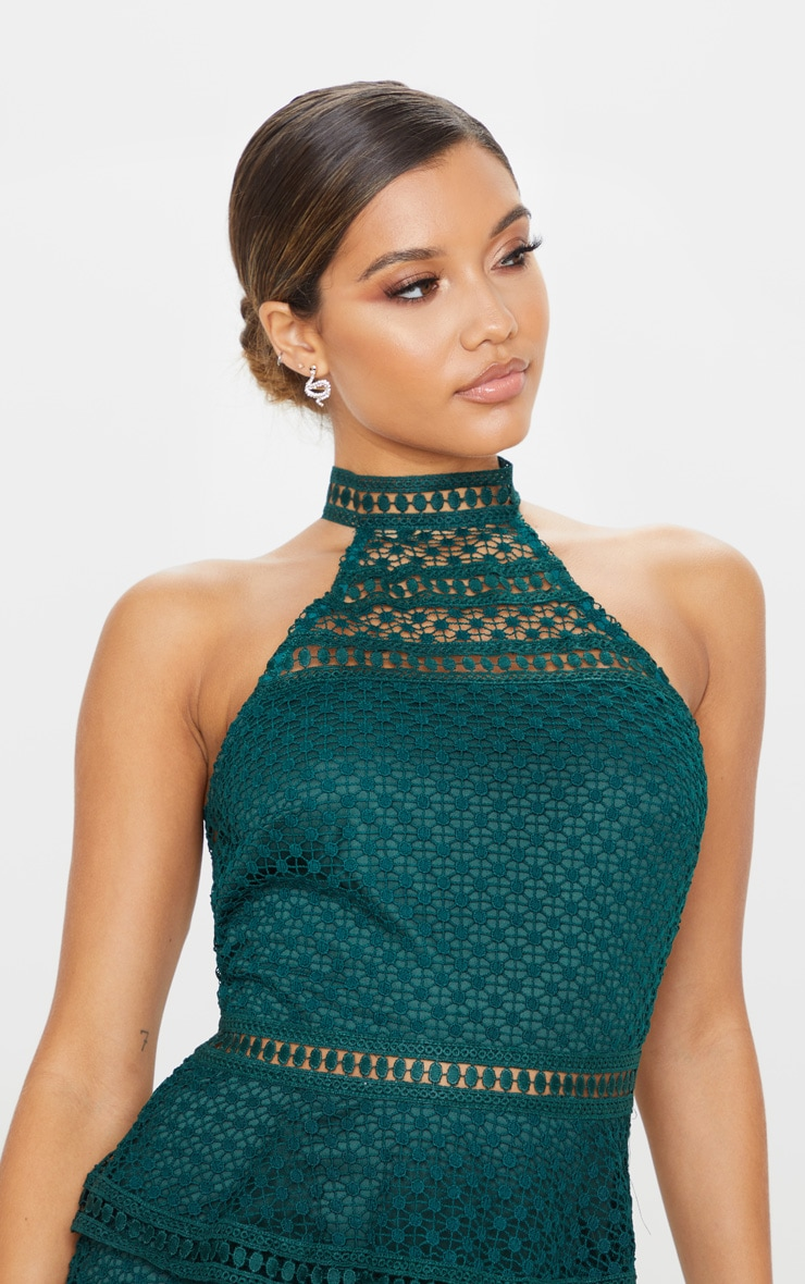Emerald Green Lace Panel Tiered Bodycon Dress 5