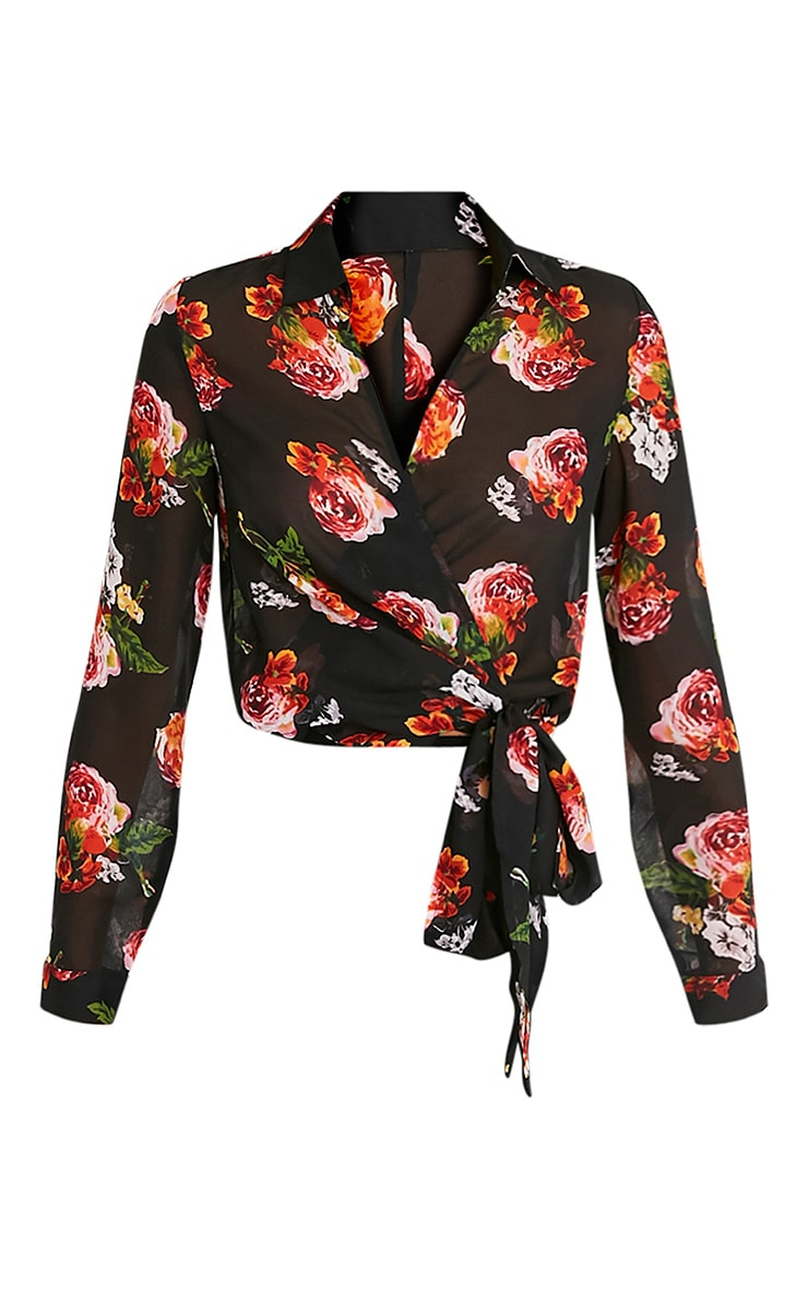 Avalyn Orange Floral Print Wrap Front Tie Side Blouse 3