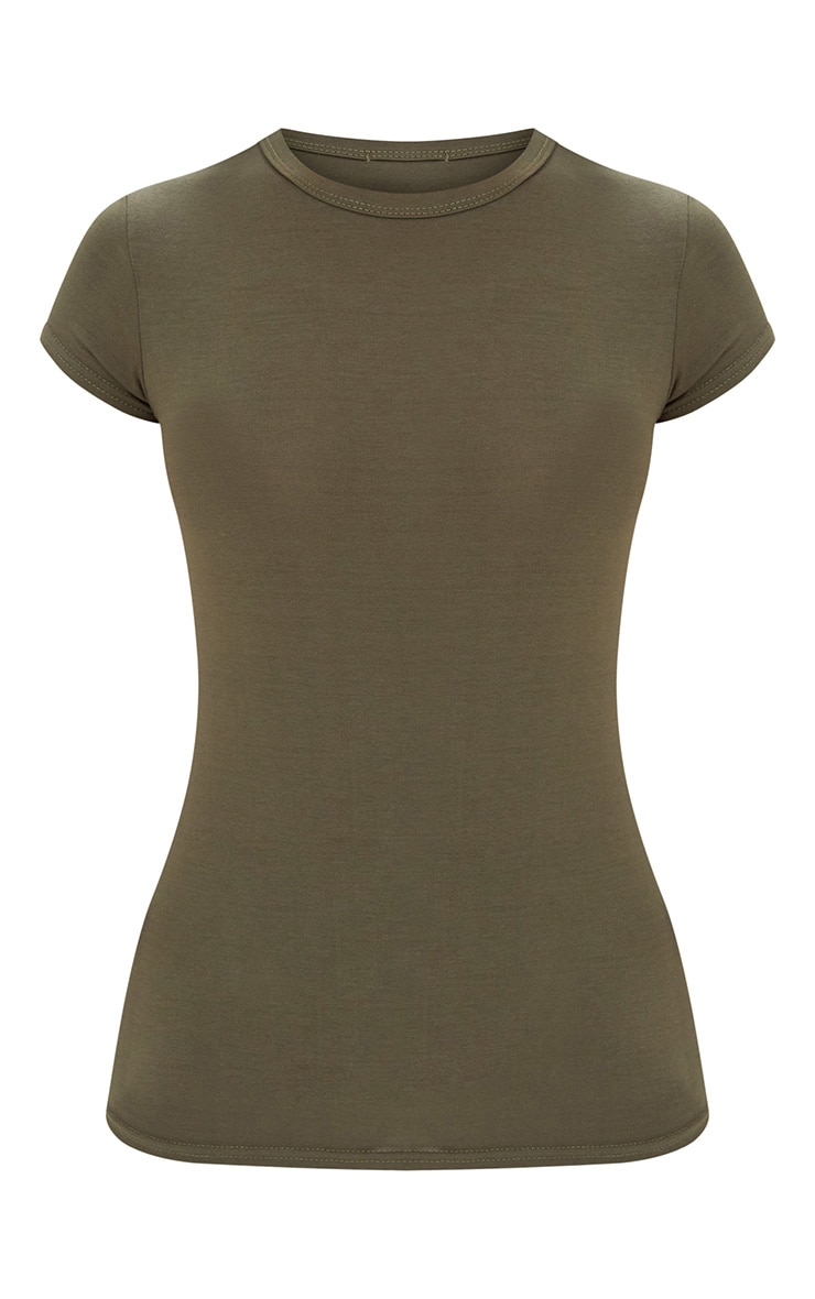 Basic Khaki  Crew Neck Fitted T Shirt 3