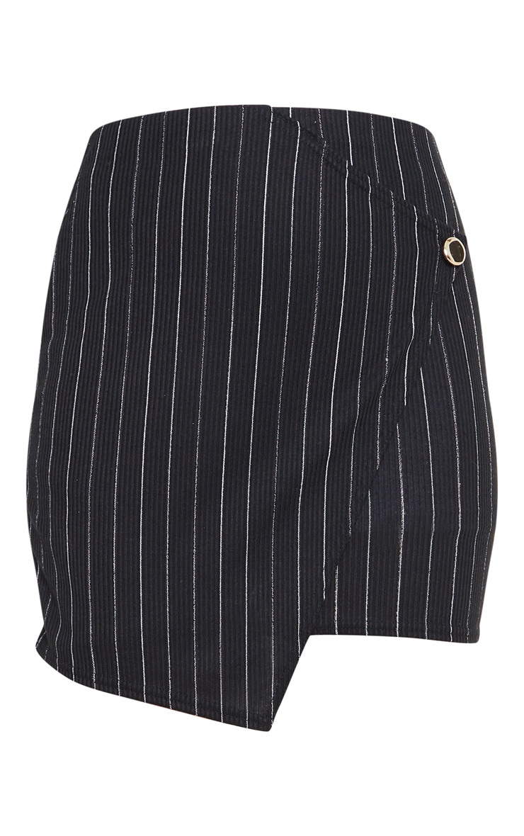 Black Pinstripe Wrap Mini Skirt 3