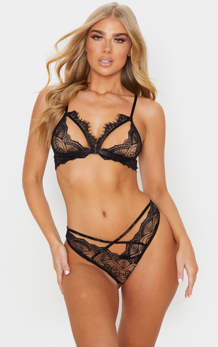 Black Floral Lace Cut Out Bra And Knicker Set 1