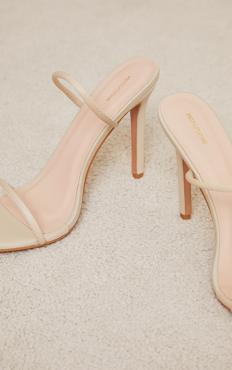 Nude Lycra Double Strap Round High Heeled Mules 4