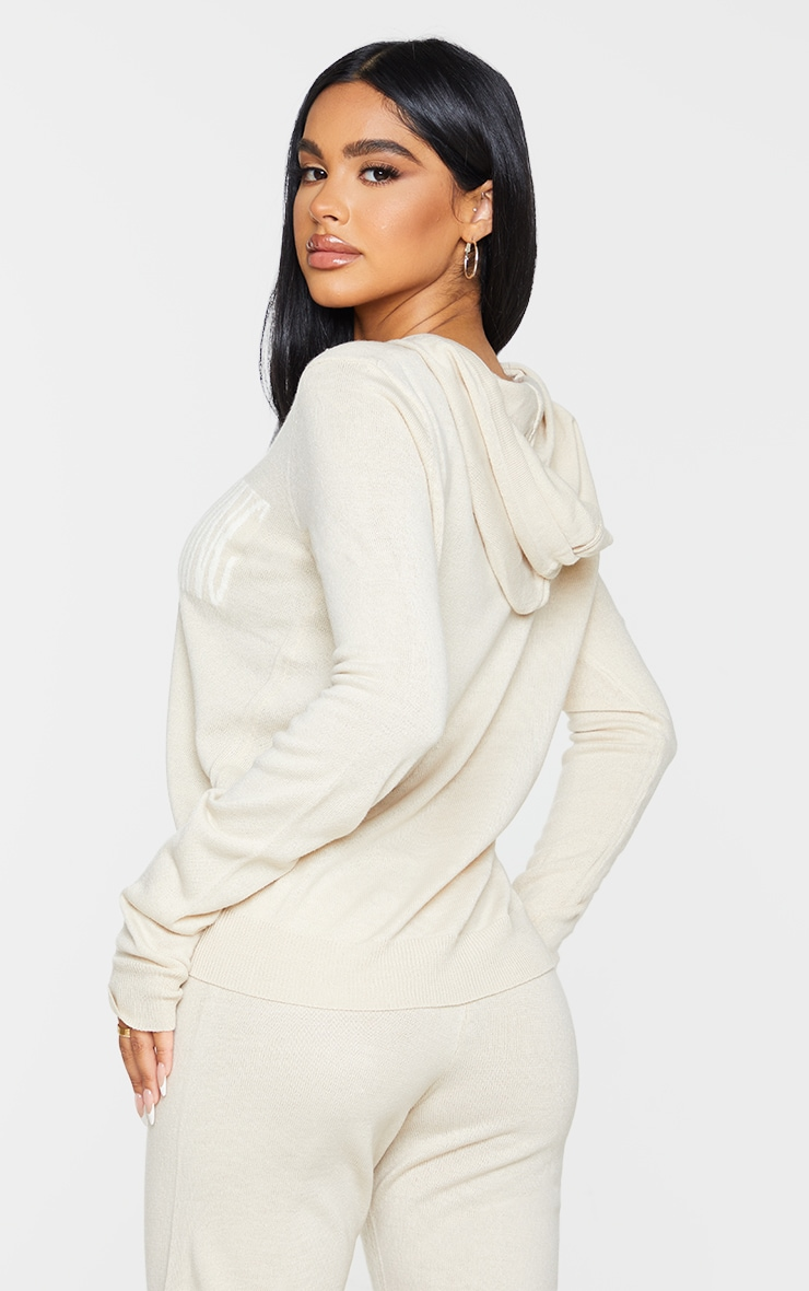 PRETTYLITTLETHING Petite Stone Knitted Hoodie 2
