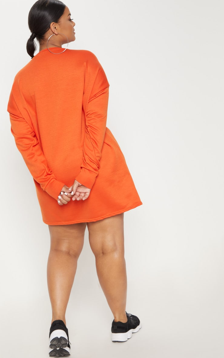 Plus Orange Oversized Sweater Dress 2
