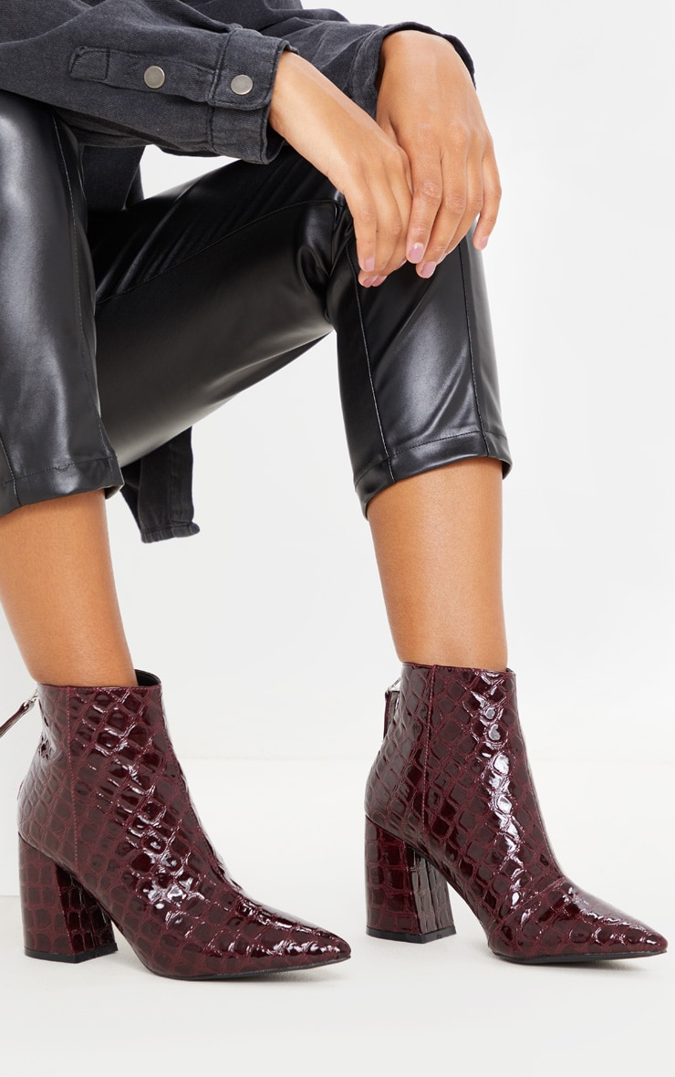 Dark Red Croc Curved Block Heel Ankle Boot 1