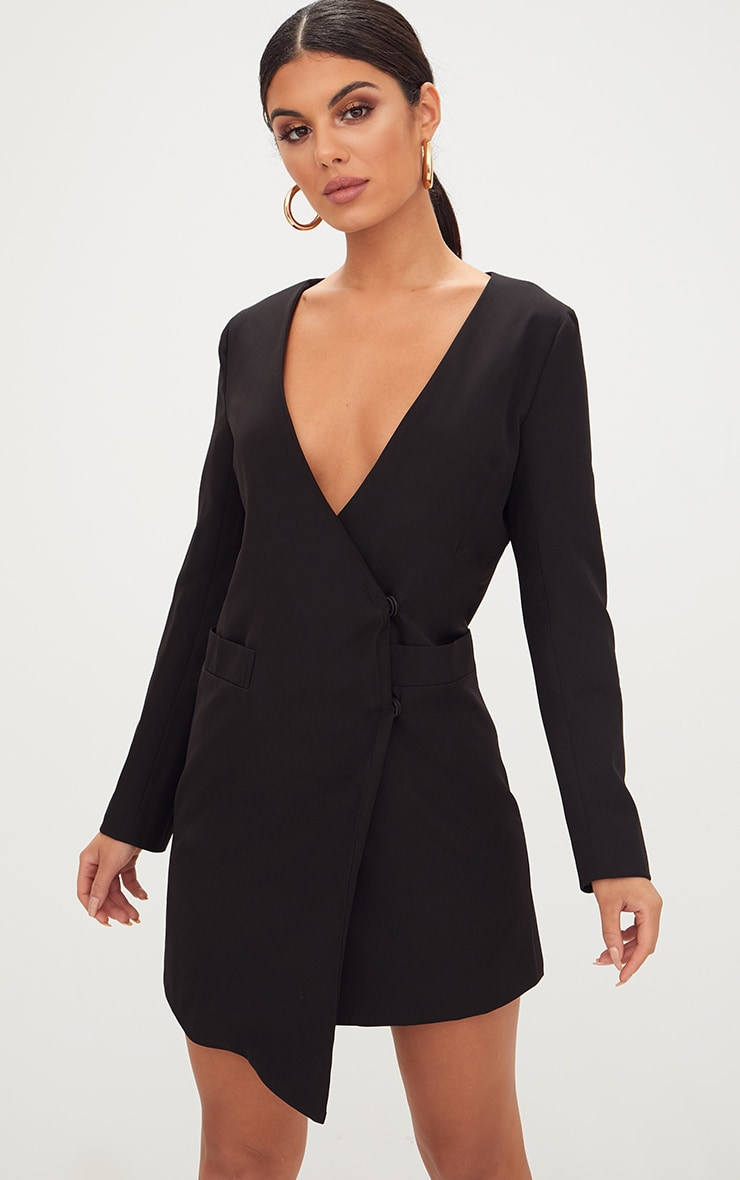 Black Oversized Asymmetric Hem Blazer Dress 1