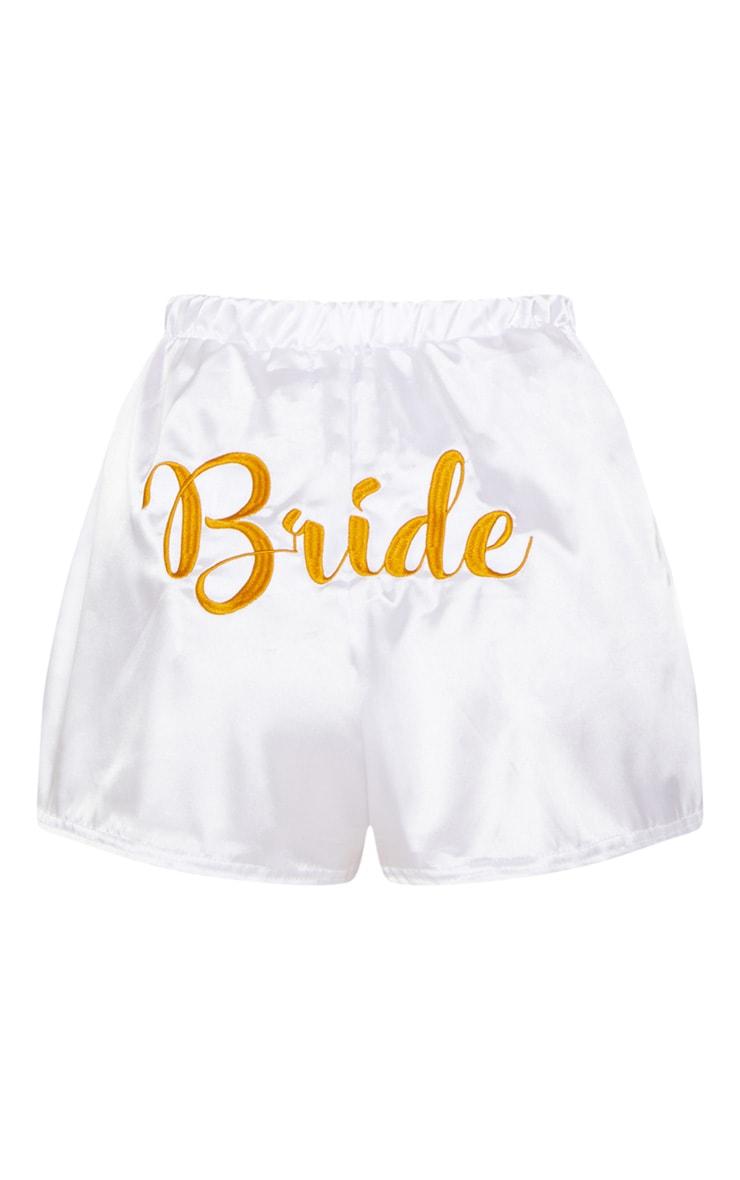 White Satin Bride Embroidered Strappy Short PJ Set 6