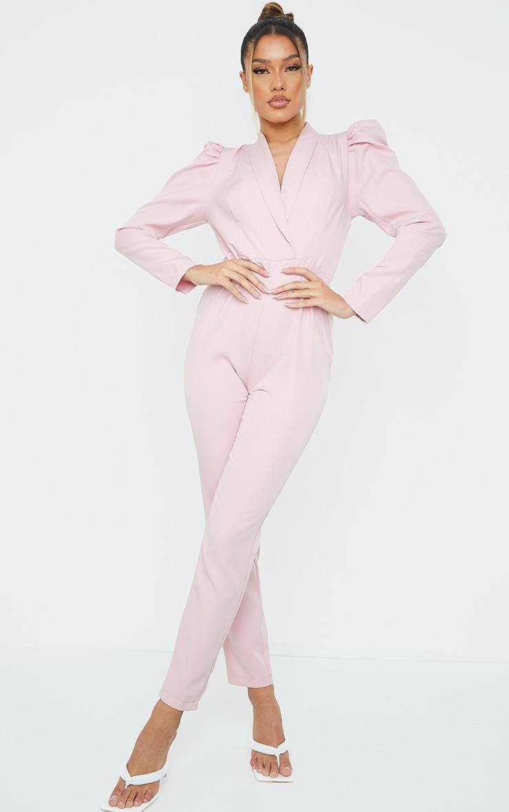 Dusty Pink Puff Sleeve Blazer Jumpsuit 1