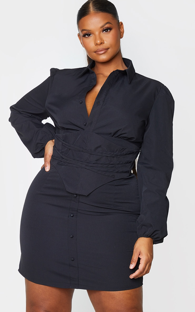 Plus Black Corset Detail Puff Sleeve Shift Dress 3