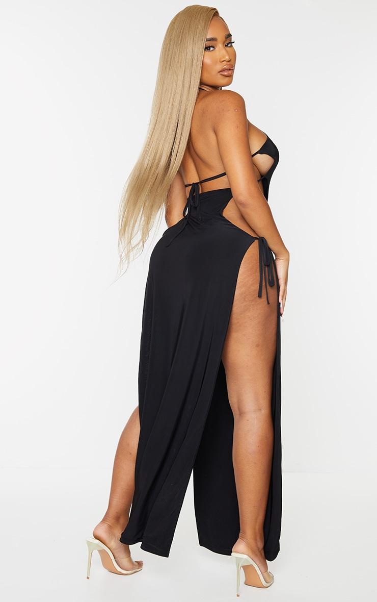Shape Black Slinky Tie Side Extreme Split Maxi Dress 2
