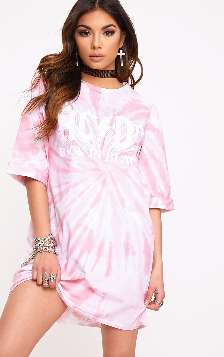 ACDC Pink Tie Dye T Shirt Dress  1