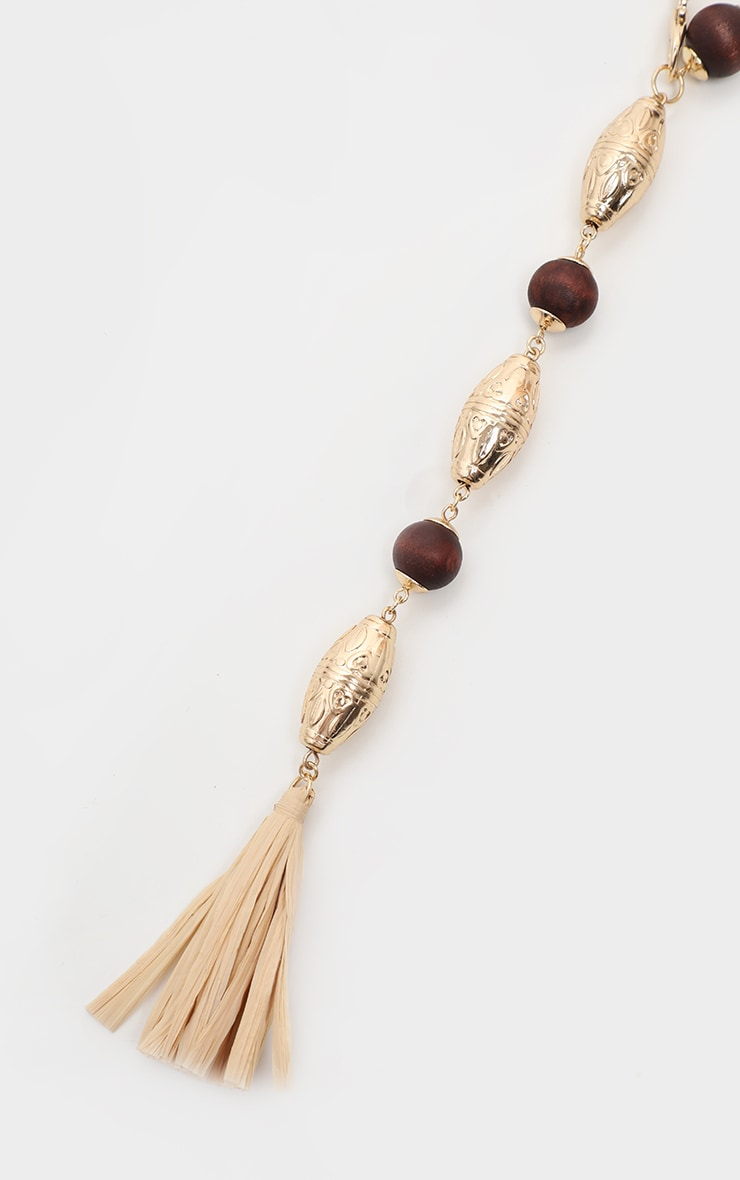 Gold And Wooden Beaded Straw Tassel Belt 3