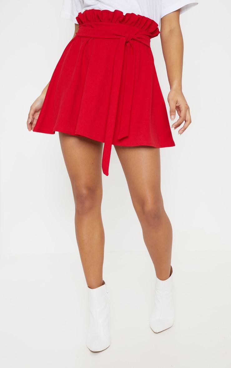 Red Tie Waist A Line Mini Skirt 2