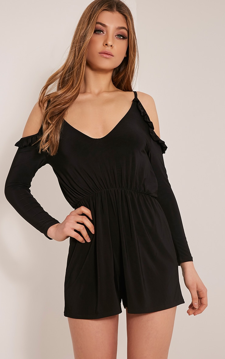 Minia Black Frill Detail Cold Shoulder Playsuit 1