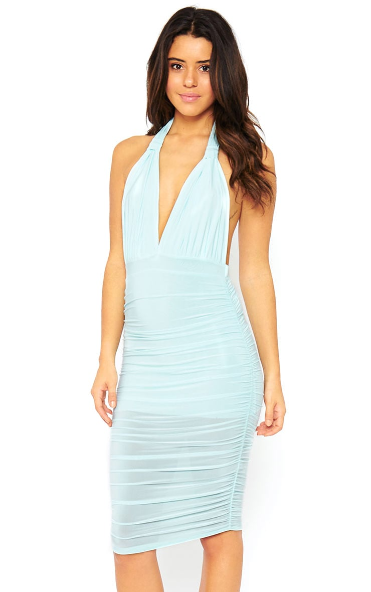 Ambrosia Mint Plunge Neck Ruched Side Dress 1