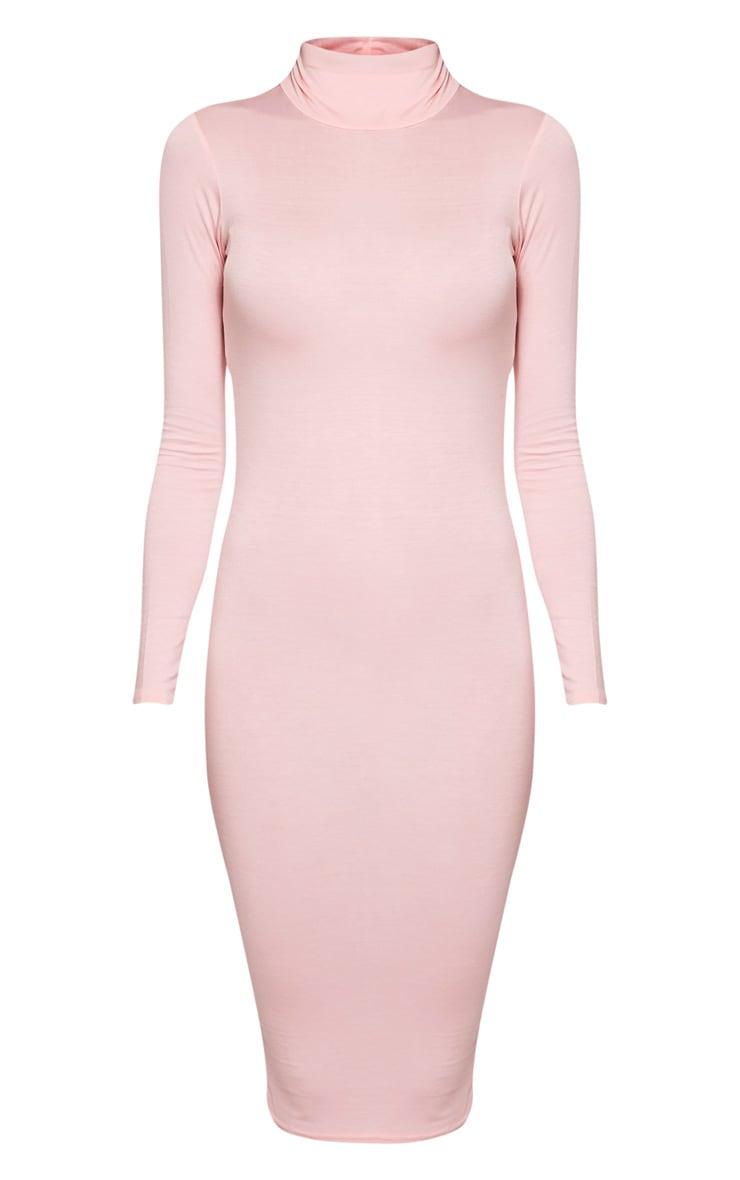 Basic Candy Pink Roll Neck Midi Dress 3