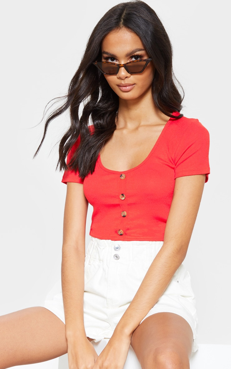 Red Scoop Neck Button Front Short Sleeve Top 1