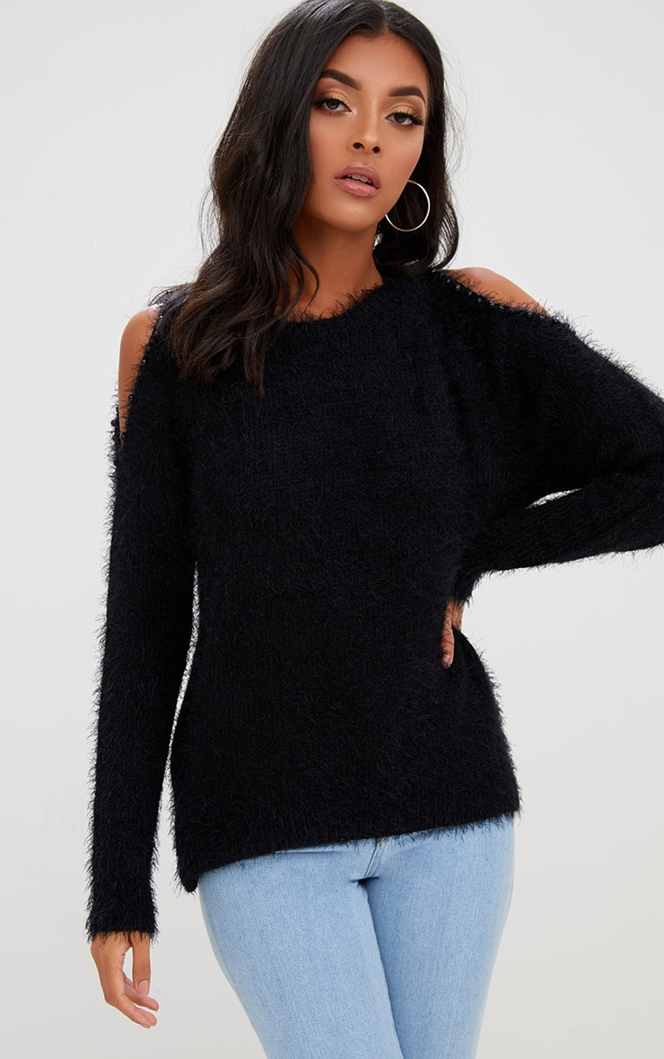 Black Pearl Trim Cold Shoulder Jumper 1