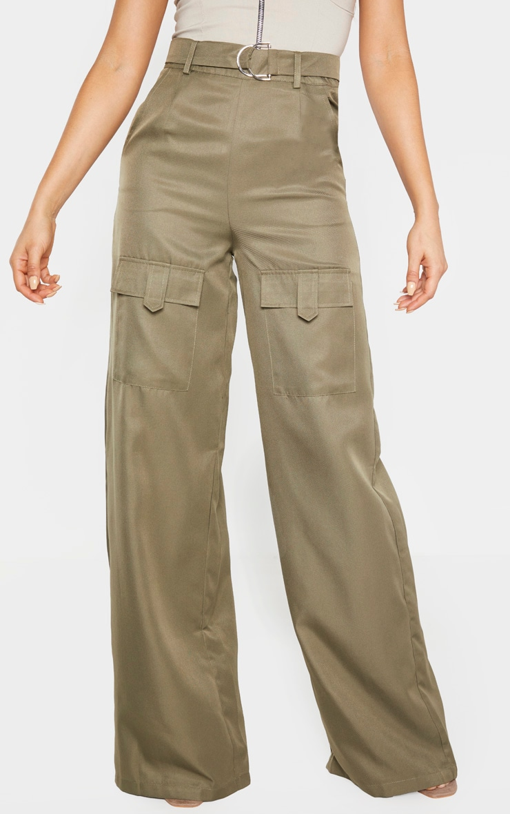Tall Khaki Belted Cargo Wide Leg Pants  2