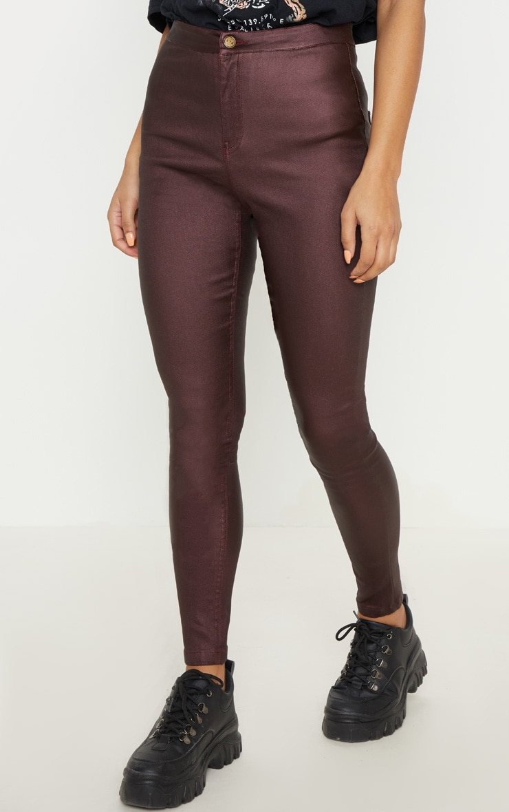 Burgundy Coated Denim Skinny Jeans  2