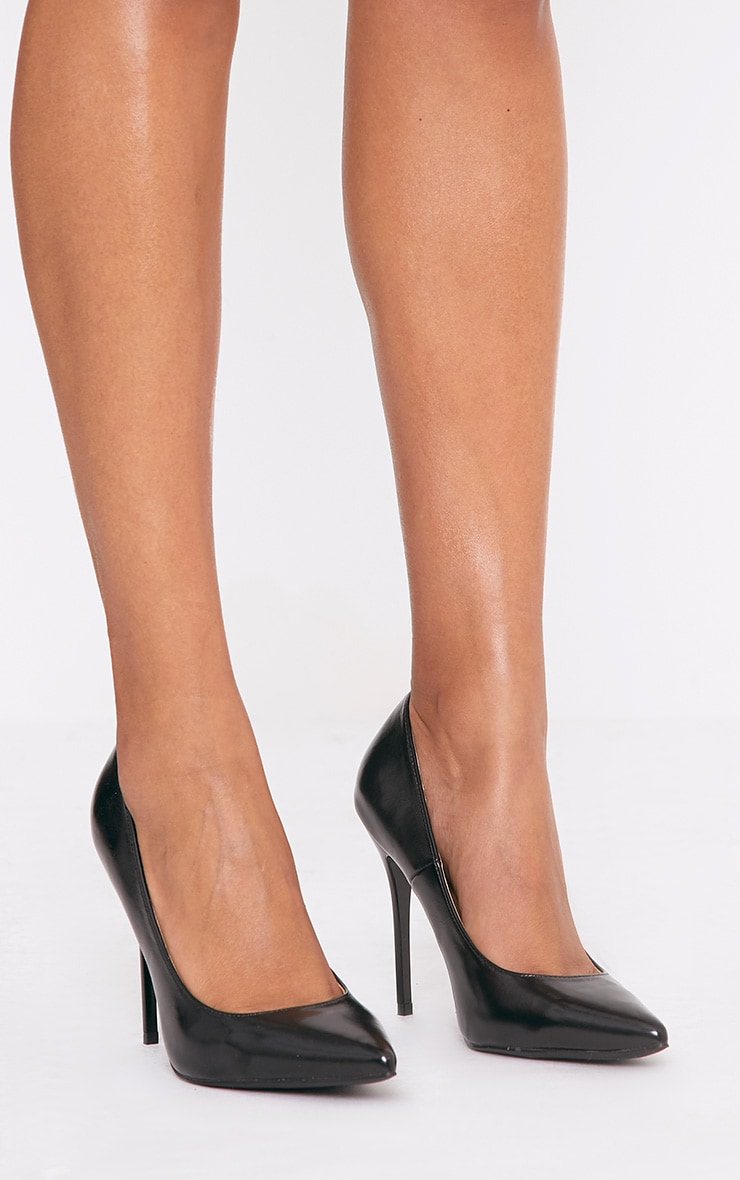 Julieta Black PU Stiletto Court Shoe 1